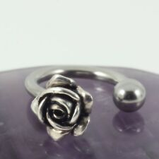 Circular Belly Bar Ring Sterling Silver Rose Motif Surgical Steel 1.6 x 10mm New
