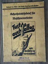 Sicherheitslehrbrief Maschinenarbeiter Eisen- und Stahlindustrie Werbung um 1930