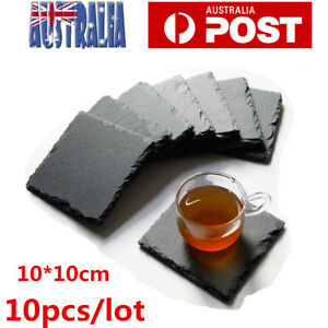 10X Natural Stone Retro Cup Mats Slate Coasters for Drinks Beverages Wine Glass