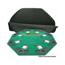 Poker Table Top Blackjack Octagon Folding Texas Holdem Game Casino Cup Holders