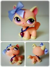 Littlest Pet Shop #1265 Peach Pink Yellow Walking Cat Purple Eyes Necklace Bow