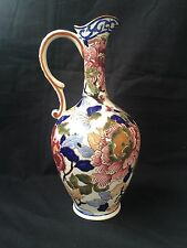Antique GIEN China Pivoines Peonies Ewer or Pitcher - Maroon & Navy Floral