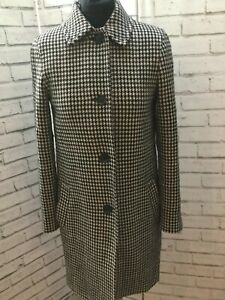 Jigsaw Ladies Check Wool Mix Long Coat Crombie Style Knee Length UK 8 Smart