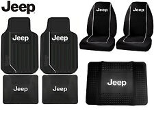 7 Pc Jeep High Back Seat Covers Front / Rear Floor Mats & Cargo Mat Protector