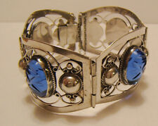 Vintage Silver Sterling Filigree Cuff Bracelet Mexico Blue Carved Stones .925