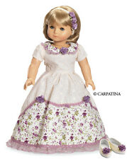 Victorian Romance Dress, Hair Flower & Shoes Fits 18 Inch American Girl Dolls