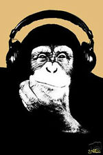 #791 Headphone Monkey Poster 24x36