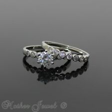 925 STERLING SILVER BEZEL SIMULATED DIAMOND ENGAGEMENT & WEDDING BAND RING SET