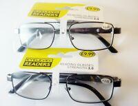 Mens READING GLASSES (2 x PAIR PACK +3.0) Glasses Gun Metal Readers RRP£19.98