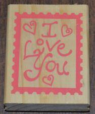 GREENBRIER INTERNATIONAL I Love You in Postage Stamp Frame Wood & Rubber Stamp