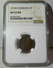 GERMAN EMPIRE 1874H GERMANY Two 2 Pfennig 2P NGC MS62 MS 62 BN  Certified Coin