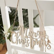 4 Wooden Merry Christmas Chair Signs Plaque Vintage Xmas Hanging Decorations