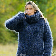 20 STRANDS Hand Knit Mohair Sweater Thick GRAY Jumper Pullover EXTRAVAGANTZA