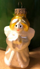 Lb Frosted Angel Glass Ornament Holiday Christmas Pearly White Angelic Lady