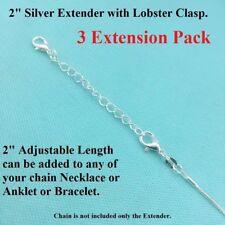 "(3 Pcs) 2"" SILVER EXTENDER for ANKLET, Bracelet or NECKLCE with LOBSTER CLASP."