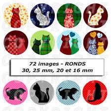 72 Images digitales pour bijoux cabochon Chats silhouettes pois carreaux Ronds