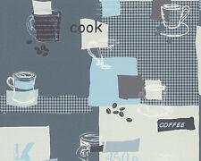 Vinilo de cocina papel pintado azul blanco crema Coffee tazas de café 30089-1 café Kitchen