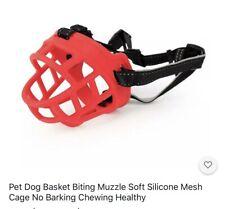 """New """"Barkless"""" Silicone Basket Dog Muzzle Size Large Adjustable Red"""