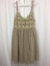 PINKY DRESS Beige Crochet Bodice Lace & Net Skirt Size M Juniors