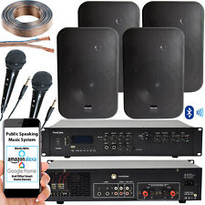 400W Bluetooth Sonido Sistema – 4x Negro Pared Altavoces – Escuela Hall Voz &