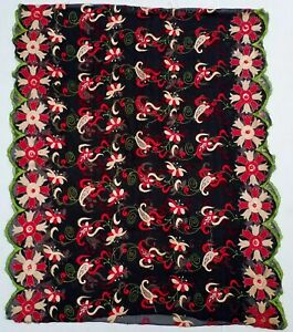 Indiansanskriti ExoticGeorgette Black Dupatta Hand Embroidery bridal Stole Scarf