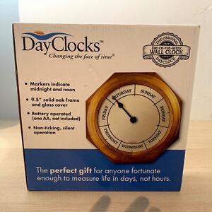 NOS DayClocks  Day of the week wall clock Classic Oak NIB