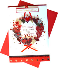 (319) Single Valentine Card - For My Valentine My Heart Belongs To You  (Size M)
