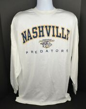 NHL Nashville Predators Long Sleeve T-Shirt, 100% Cotton, White XL