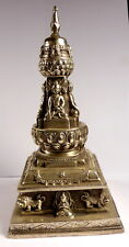 TIBETAN SILVER STUPA SARIRA PHRA TATH / THAD / THAT BUDDHA RELIC FROM NEPAL