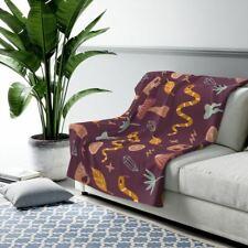 Sherpa Fleece Blanket - Witchy Mushroom, Snakes & Skulls Print