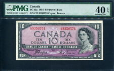 Canada 1954, Devil's Face Hairdo 10 Dollars, P69a, BC-32a, PMG 40 EPQ EF
