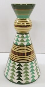 """1999 Moorland Pottery Chelsea Works Green Yellow Gold Cone Art Deco Vase 7.5"""""""