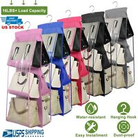 6-Pockets Handbag Storage Organizer Anti-dust Cover Large Clear Bag Rack Hangers