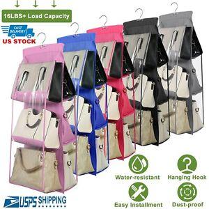 6-Pockets Handbag Storage Organizer Anti-dust Cover Large Clear Bag Rack Hangers