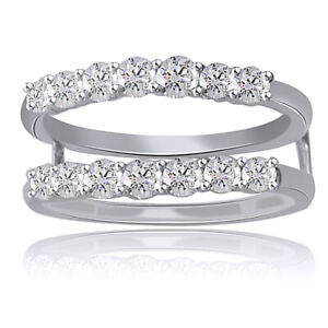 3/4 Ct Wrap Guard Solitaire Enhancer 14 Round Diamonds 10k White Gold Ring
