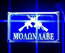 """""""MOLON LABE"""" LED LARGE 20"""" X12"""" Acrylic Blue Illuminated Sign, Unbranded/Generic"""
