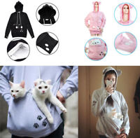 Cute Women Pet Dog Cat Holder Carrier Coat Pouch Kangaroo Pocket Hoodie Girl Top