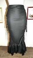 jupe T40/42 noir et rouge laçage sur les cotés longue fishtail skirt goth L 596!