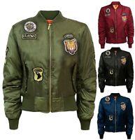 Women Ladies Classic MA1 Zip Up Bomber Biker Jacket Vintage Flight Army Coat