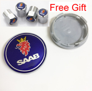 "4pcs 63mm 2.48"" Blue Logo Wheel Center Hub Caps Set Fit SAAB And Air Valve Caps"