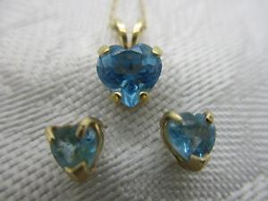 "LGL 14K SOLID GOLD BLUE TOPAZ HEART PENDANT NECKLACE STUD EARRINGS 17"" CHAIN"