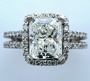 Platinum Halo Style Setting for 3ct+ Radiant or Emerald Cut Stone (Size-6.50)