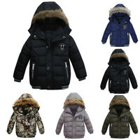 Kids Boys Winter Snow Warm Hooded Fur Lined Coat Jacket Trendy Parka Outerwear