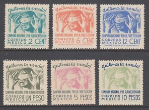 Mexico Sc 806-811 MLH. 1945 National Literacy Campaign, complete set