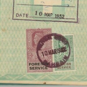 ENGLAND High Value Consular Revenues 1 pound & 2/6s. Tied Diplomatic Doc. 1952