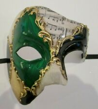 MAR5 PHANTOM OF THE OPERA MASK, HANDMADE IN ITALY PAPIER MACHE GREEN/BLACK/GOLD