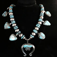 Vintage Navajo Native American Jewelry Turquoise Necklace Large Squash Blossom