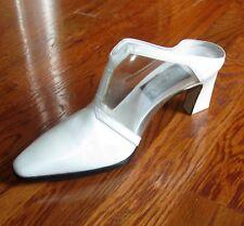 New $450 HAND MADE ITALIAN HEELS 5 35 by Comcedia MULES WHITE wACRYLIC Shoes