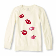 the childrens place white red lips kiss sequin sweater