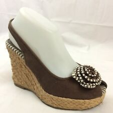 Naturalizer Womens 6.5 M Slingback Espadrilles Heel Sandals Shoes Peep Toe Brown